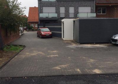 Terrasse Auto Hof Pflastersteine